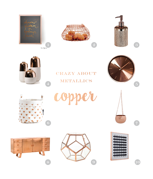 Inject some metallic into your life with copper - homewares, decor, accessories, furniture - So Sweet Collective